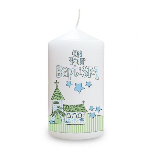 Personalised Blue Baptism Church Candle